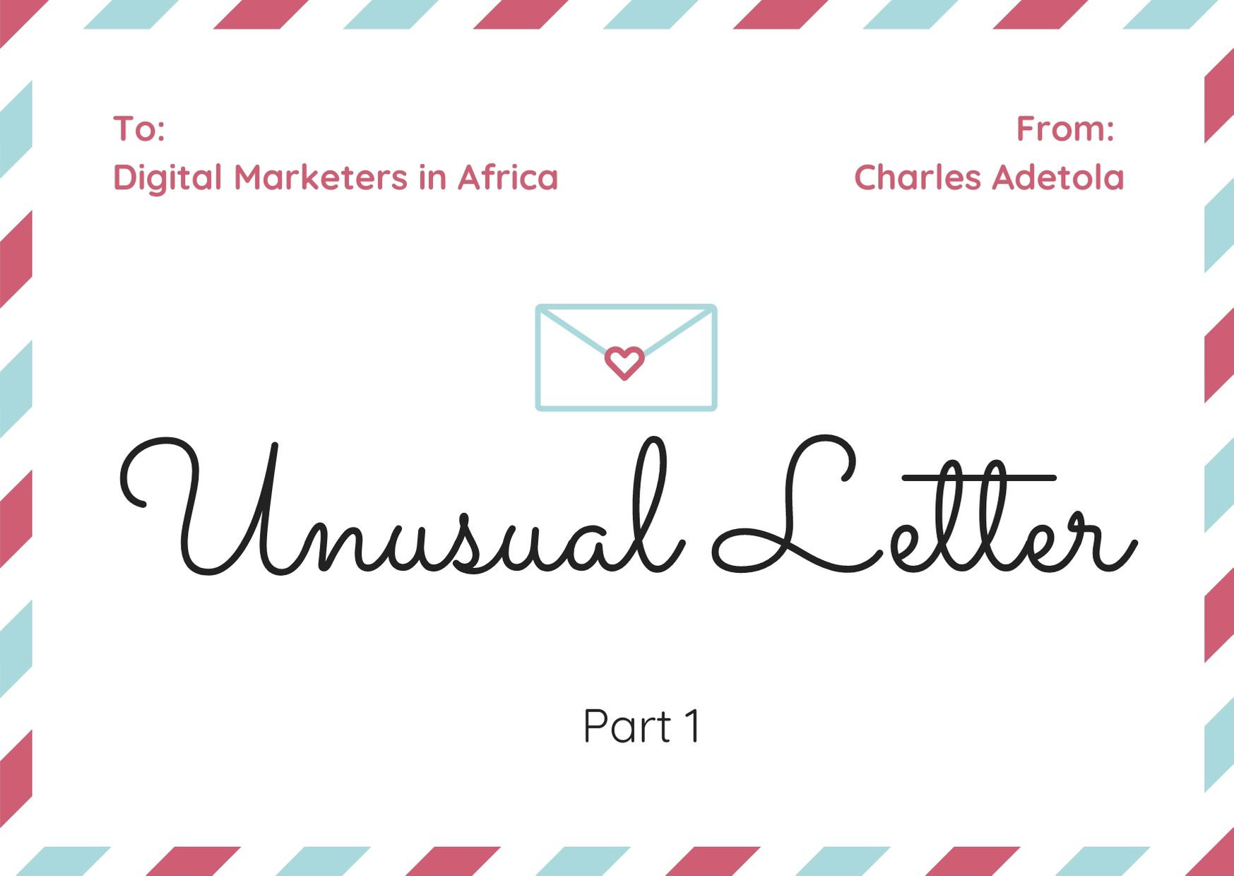 Unusual letter to digital marketers